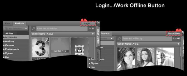 Login/Work Offline Button